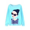 Sun-Glasses Girl Round Neck Long Sleeve Sweatshirt