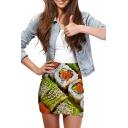 3D Sushi Print Elastic Waist Mini Wrap Skirt
