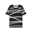 Zebra Stripe Round Neck Short Sleeve T-Shirt