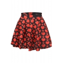 Red Hearts Print Elastic Waist Mini Flared Skirt