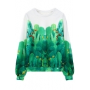 Green Cactus Print Round Neck Long Sleeve Sweatshirt