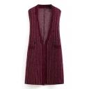 V-Neck Open Front Sleeveless Button Detail Double Pocket Knit Vest