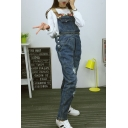 Ripped Wash Denim Overalls