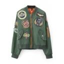 Stylish Applique Zipper Stand Collar Long Sleeve Bomber Jacket