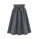 Plain Ruffle Hem Tie Waist Pleated Midi A-Line Skirt
