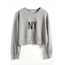 NY Letter Print Round Neck Long Sleeve Crop Sweatshirt