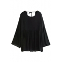 Black Open Back Round Neck Bell Sleeve Shirt
