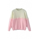 Color Block Round Neck Long Sleeve Beaded Sweater