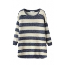 Round Neck Stripe Long Sleeve Dolphin Hem Sweater
