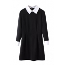 Black Lapel Long Sleeve Zipper Back A-Line Dress