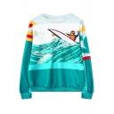 Rowing Man Print Round Neck Long Sleeve Sweatshirt