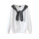 Plain Round Neck Long Sleeve Sweatshirt with Stripe Tippet