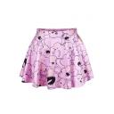 Cartoon Clouds Print Elastic Waist Mini Flared Skirt