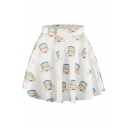 White Angels Print Elastic Waist Mini Flared Skirt