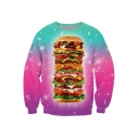 3D Tie-Dye Big Hamburger Print Round Neck Long Sleeve Sweatshirt