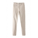 Plain Button Zipper Fly Pants