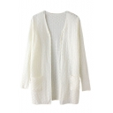 Plain Buttons Open Front V-Neck Long Sleeve Cardigan