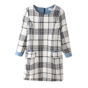 Plaid Round Neck Long Sleeve Double Pocket Shift Dress