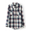 Plaid Lapel Long Sleeve Double Pocket Single -Breasted Shirt