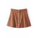 Khaki Button Fly Suede Flared Mini Skirt