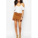 Plain Tassel Hem Zip Side Suede Mini Wrap Skirt