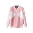 Stand Collar Zipper Long Sleeve Color Block Bomber Jacket