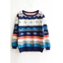 Geometric Color Block Long Sleeve Round Neck Sweater