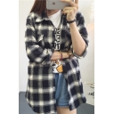 Plaid Lapel Long Sleeve Double Pocket Tunic Shirt
