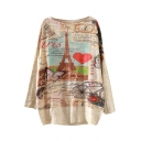 Landscape Print Scoop Neck Long Sleeve Sweater