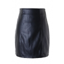 Black PU Zipper Back Mini Wrap Skirt