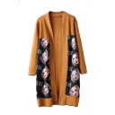 Beauty Head Print Long Sleeve Open Front Cardigan