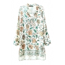 Floral Print Lapel Single Breasted Long Sleeve Shirt Dress