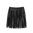 Black PU Tassel Zip Side A-Line Mini Skirt