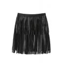 Black PU Tassel Zip Side A-Line Mini Skirt