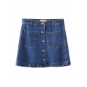 Plain Button Fly Denim A-Line Skirt