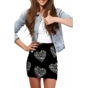 Crystal Heart Print Elastic Waist Mini Wrap Skirt