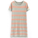 Stripe Color Block Round Neck Short Sleeve Shift Dress