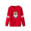 Cartoon Owl Embroidery Long Sleeve Round Neck Sweatshirt