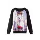 Stylish Beauty Round Neck Color Block Long Sleeve Sweatshirt