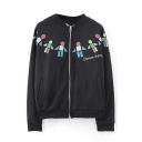 Cartoon Print Stand Collar Zipper Long Sleeve Bomber Jacket