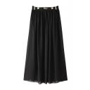 Black Metal Patchwork Elastic Waist Maxi Skirt