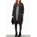 Plain V-Neck Open Front Long Sleeve Longline Cardigan
