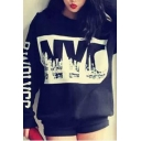 NYC Letter Print Long Sleeve Round Neck Sweatshirt