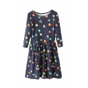 Round Neck Heart Print 3/4 Length Sleeve Smock Dress