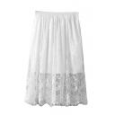 Plain Elastic Waist Lace Layered Midi A-Line Skirt