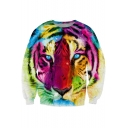 3D Colorful Tiger Print Round Neck Long Sleeve Sweatshirt