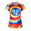 3D Colorful Ink Print Round Neck Short Sleeve T-Shirt