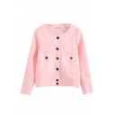 Plain Single-Breasted Round Neck Suede Long Sleeve Crop Coat