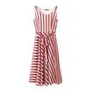 Round Neck Stripe Sleeveless Chiffon Tie Waist Pleated A-Line Dress
