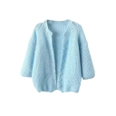 Plain Round Neck 3/4 Length Sleeve Beaded Knit Open Front Cardigan